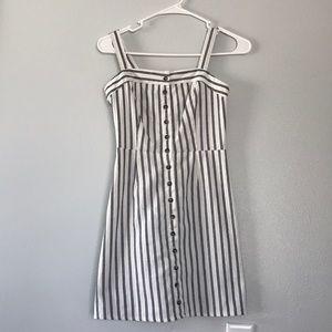 Tilly's XS Navy Blue Stripped & Buttoned Dress